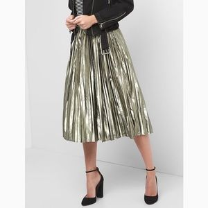 GAP Metallic Pleated Aline Midi Skirt [NWT]